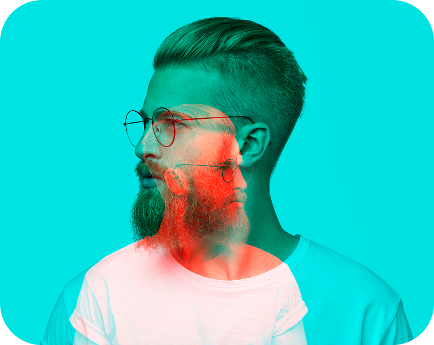 bearded man with glasses image with double exposure effect applied