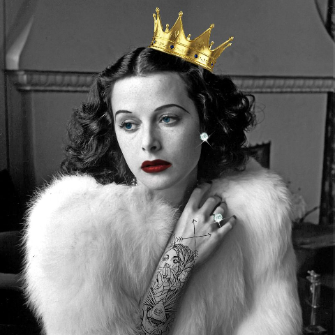 Hedy Lamarr with crown sticker