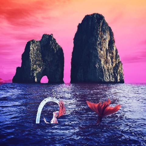 Pink sky ocean image